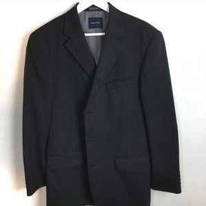 Men's 42 Long Nautica Wool Charcoal Blazer Jacket